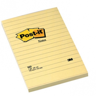 POST-IT 3M 660 BLOCCO RIGATO 100X150 6PZ GIALLO