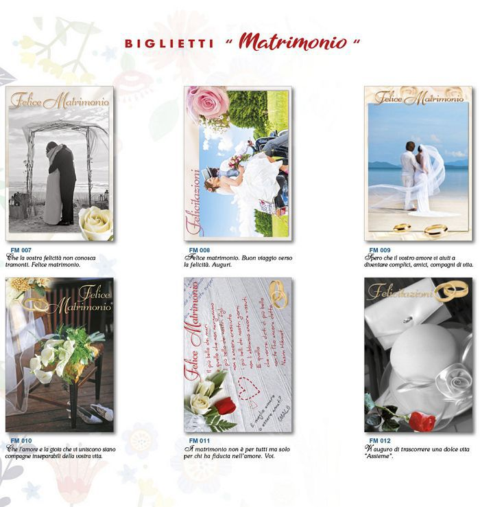 BIGLIETTI EDITALY MATRIMONIO 12pz