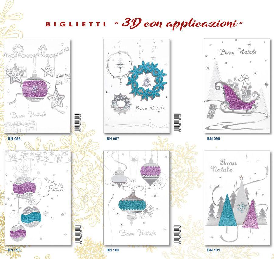 BIGLIETTI EDITALY NATALE 12pz 3D APPICAZIONI