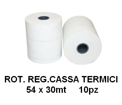 ROTOLI REGISTRATORE CASSA TERMICI 54x30mt 10pz