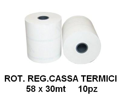 ROTOLI REGISTRATORE CASSA TERMICI 58x30mt 10pz