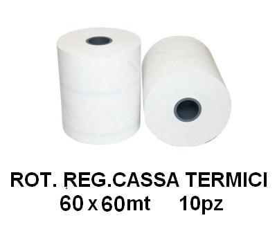 ROTOLI REGISTRATORE CASSA TERMICI 60x60mt 10pz