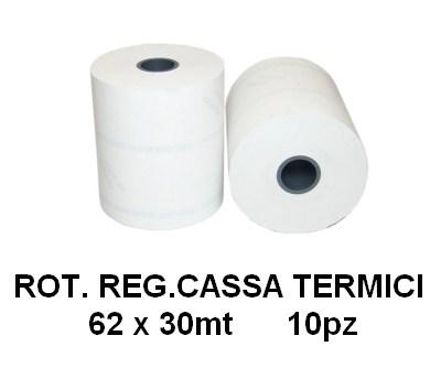 ROTOLI REGISTRATORE CASSA TERMICI 62x30mt 10pz