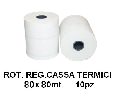 ROTOLI REGISTRATORE CASSA TERMICI 80x80mt 10pz