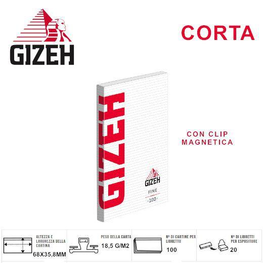 CARTINE GIZEH CORTA RED FINE 20pz Custodia Magnetica - PROV-A01086005