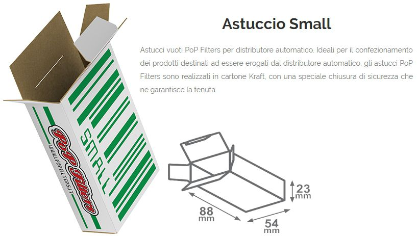 ASTUCCI VUOTI DISTRIBUTORE 250pz MEDIO SMALL 8,8-5,4-H2,30  POP