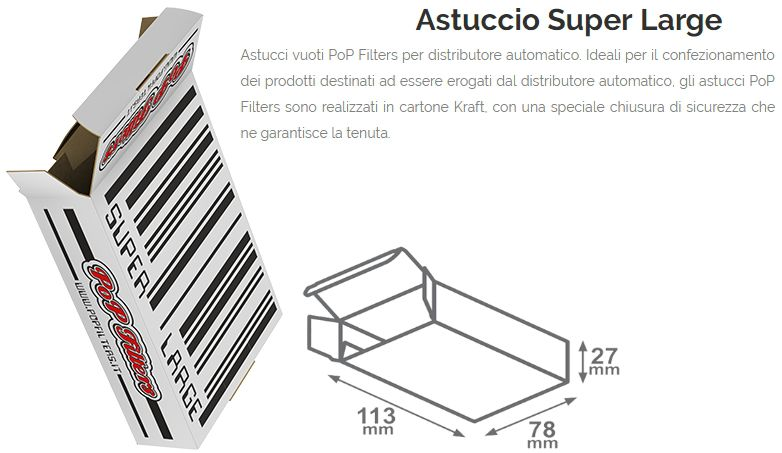 ASTUCCI VUOTI DISTRIBUTORE 150pz EXTRA LARGE TABACCO 11,3-7,8-H3,00  POP