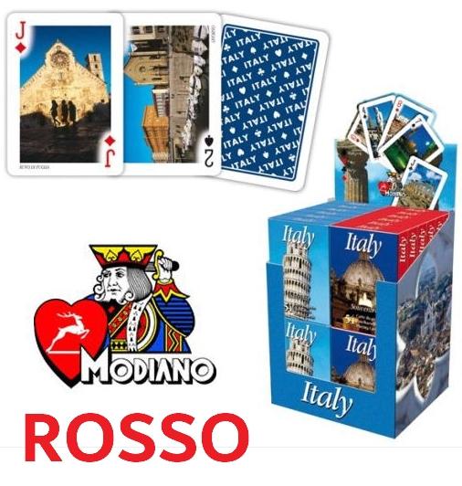 CARTE DA GIOCO POKER CANASTA ITALIA SOUVENIR RED 1pz MODIANO edizione limitata