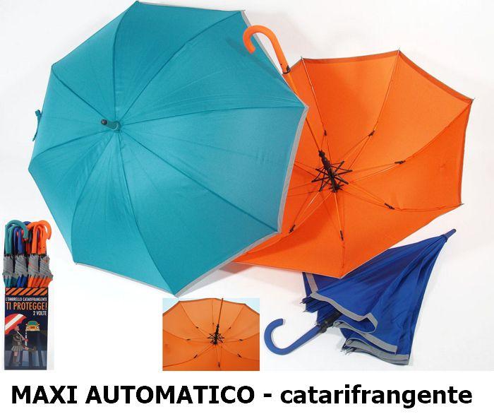 OMBRELLO MAXI AUTOMATICO COLOR 12pz BORDO CATARIFRANGENTE + EXPO DA BANCO