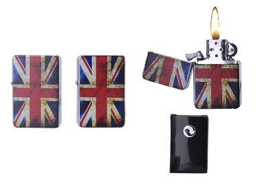 ACCENDINO CHAMP PIETRINA METAL 1pz UK FLAG (simile zippo)