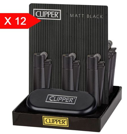 ACCENDINO CLIPPER PIETRINA 12pz METAL BLACK + CUSTODIA METAL
