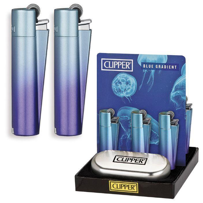 ACCENDINO CLIPPER PIETRINA 12pz METAL BLUE GRADIENT + CUSTODIA METAL