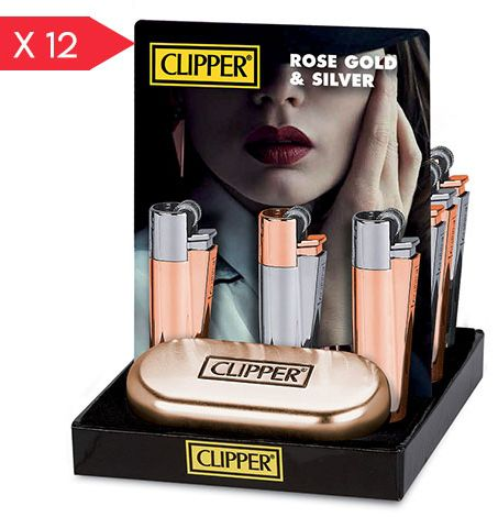 ACCENDINO CLIPPER PIETRINA 12pz METAL ROSE + CUSTODIA METAL