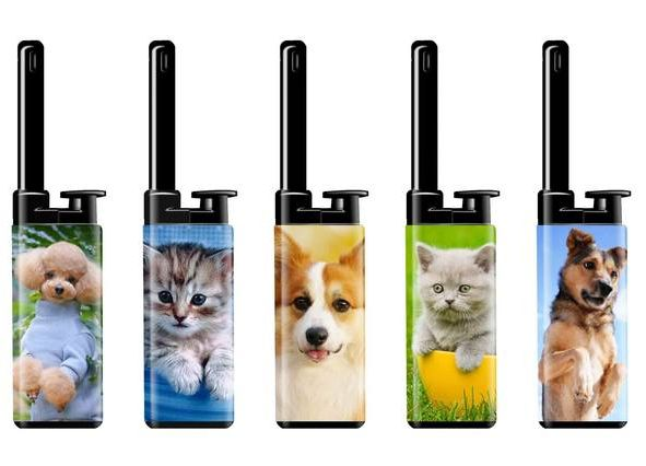 ACCENDIGAS RICARICABILE ATOMIC MINI 25pz DOGS & CATS