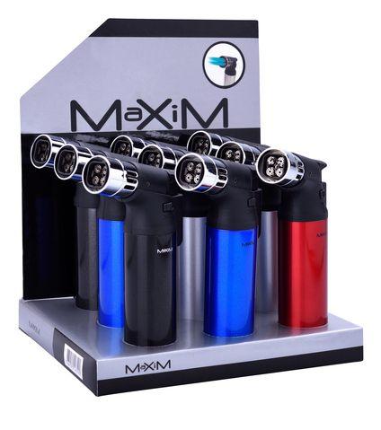 ACCENDINO MAXIM TURBO BLUE FLAME 9pz METAL