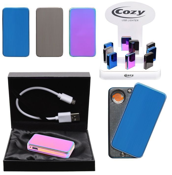 ACCENDINO COZY USB 1pz METAL COLOR ASSORTITI (C9)