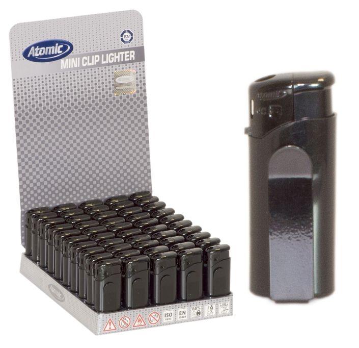 ACCENDINO ATOMIC MINI+CLIPS ELETTRONICO 50pz BLACK - RICARICABILE
