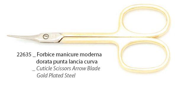 FORBICI manicure moderne dorate punta lancia curve - 1pz FILAX