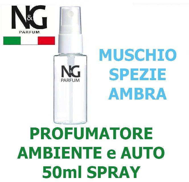 PROFUMATORE SPRAY NG 50ml 1pz MUSCHIO SPEZIE AMBRA - AMBIENTE / AUTO - ECOLOGICO