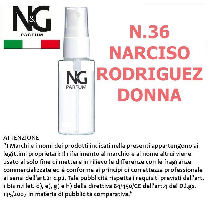 PROFUMO NG 50ml 1pz N.36 DONNA (NARCISO RODRIGUEZ) - ECOLOGICO