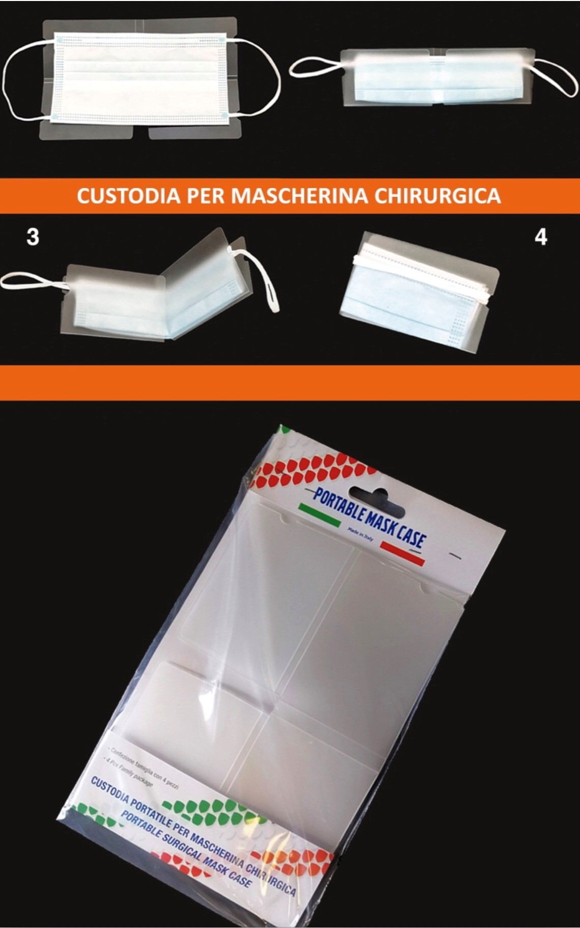 PORTA MASCHERINA CUSTODIA CHIRURGICHE PROTEZIONE PVC 1x4pz BLISTER