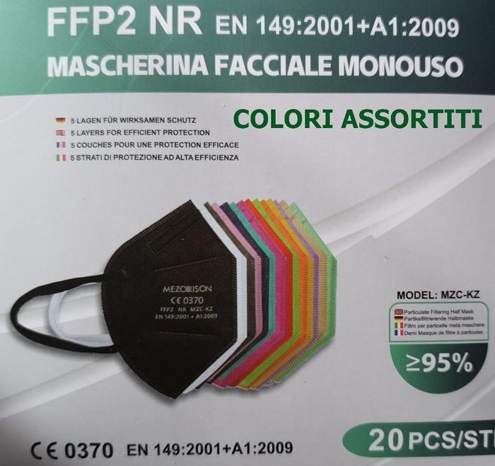 MASCHERINE FFP2 COLORI ASSORTITI 20pz (blister singolo) - CE0370