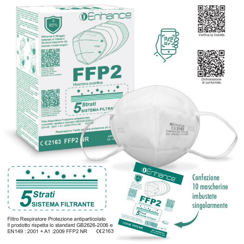 MASCHERINE FFP2 BIANCA 10pz (blister singolo) - CE2163 DPI