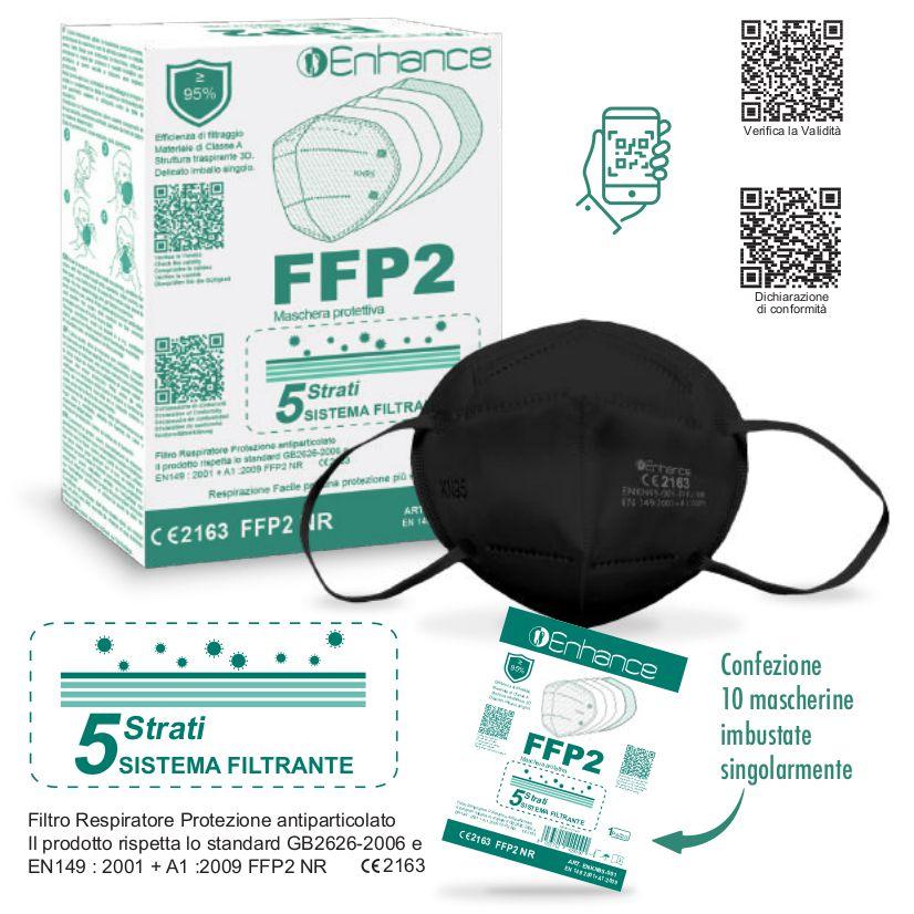 MASCHERINE FFP2 NERA 10pz (blister singolo) - CE DPI