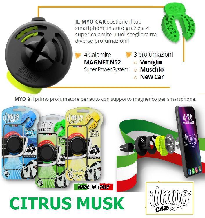 DEODORANTE PER AUTO + PORTA CELLULARE MAGNETICO 1pz CITRUS MUSK - IL MYO CAR