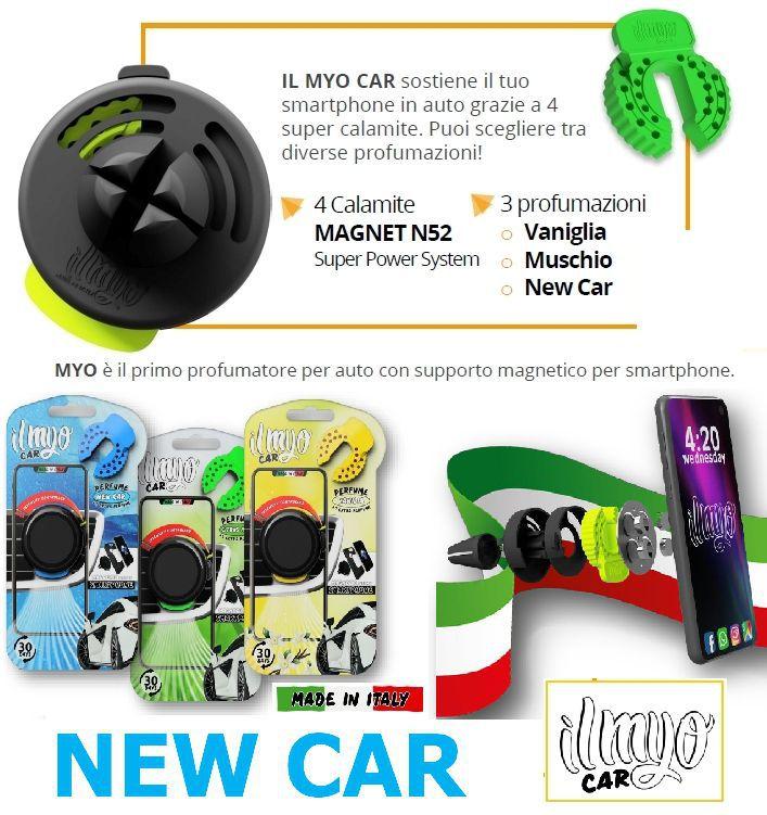 DEODORANTE PER AUTO + PORTA CELLULARE MAGNETICO 1pz NEW CAR - IL MYO CAR