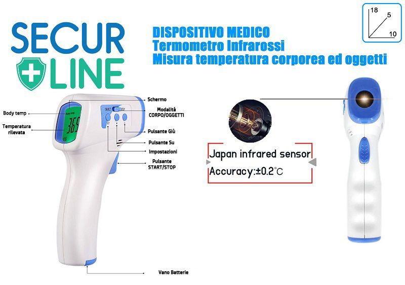 TERMOMETRO SCANNER INFRARED NO TOUCH PROFESSIONALE 1pz SECURE LINE