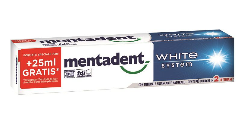 DENTIFRICIO MENTADENT WHITE SYSTEM 100ml 1pz BASIC