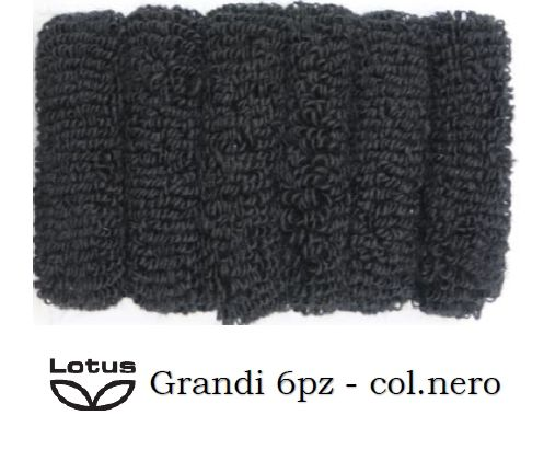ELASTICI PER CAPELLI LOTUS IN SPUGNA 6pz NERO GRANDI ART.5565