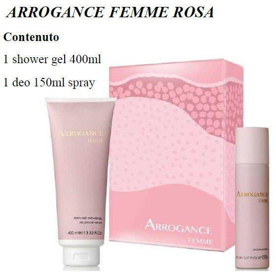 COFANETTO ARROGANCE FEMME ROSA COF shower 400+deos 150 C3