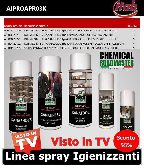 IGIENIZZANTE SPRAY ALCOLICO PROMO KIT 15pz