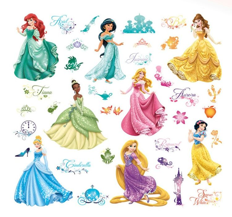 ADESIVI STICKERS DISNEY PRINCIPESSE 12x1pz ASSORTITI