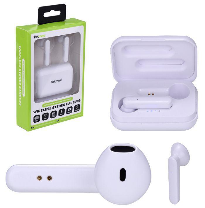 AURICOLARI CUFFIE WIRELESS 1pz BIANCO SENZA FILI + CARICATORE USB - TEKMEE