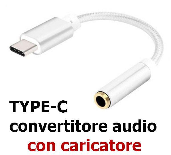 AURICOLARI CAVO ADATTATORE/CARICATORE TYPE-C 1pz AUDIO CONVERTITORE