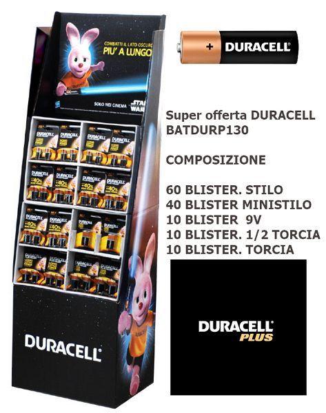 BATTERIE DURACELL EXPO POWER 130pz KIT COMPOSTO DA: