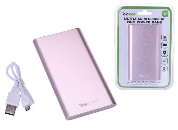 BATTERIE ESTERNA POWERBANK + 2USB - 5000mAh ROSA - cellulari