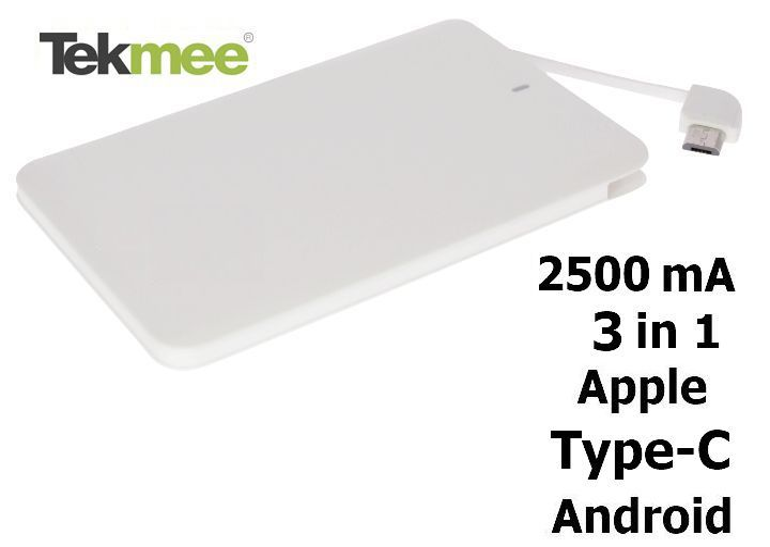 BATTERIE ESTERNA POWERBANK + 3in1 USB BIANCO - 2500mAh - cellulari - TEKMEE