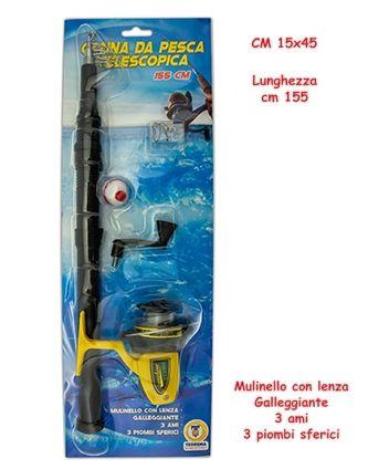 GIOCHI CANNA DA PESCATELESCOPICA 1pz 155cm CON MULINELLO
