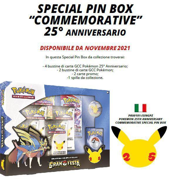 CARTE DA GIOCO POKEMON SPECIAL PIN BOX 1pz - ANNIVERSARIO 2021