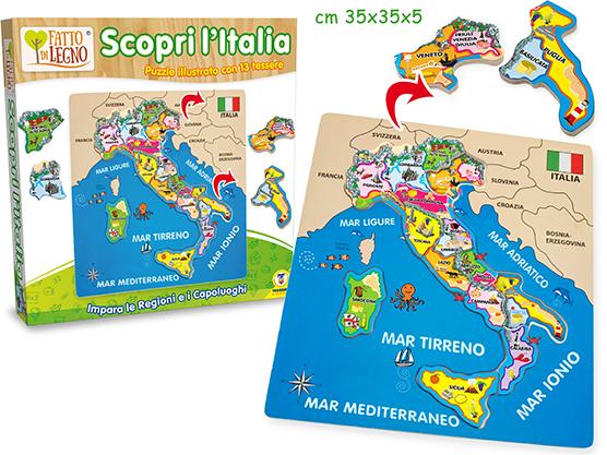 GIOCHI LEGNO PUZZLE ITALIA - 13 staccabili 30x30x0.8cm  1pz - TEOREMA       1pz