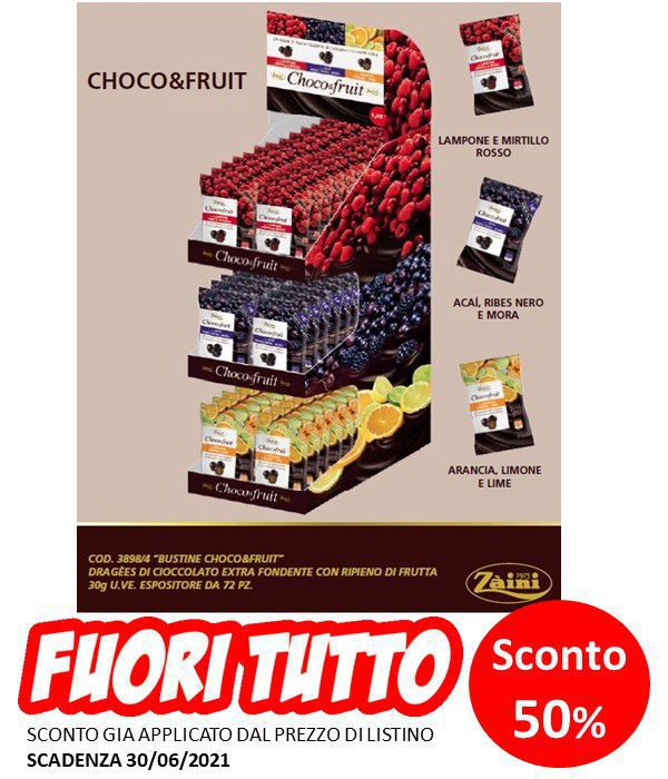 ZAINI CHOCO&FRUITS 72pz EXPO DA BANCO - SC. 30/06/21