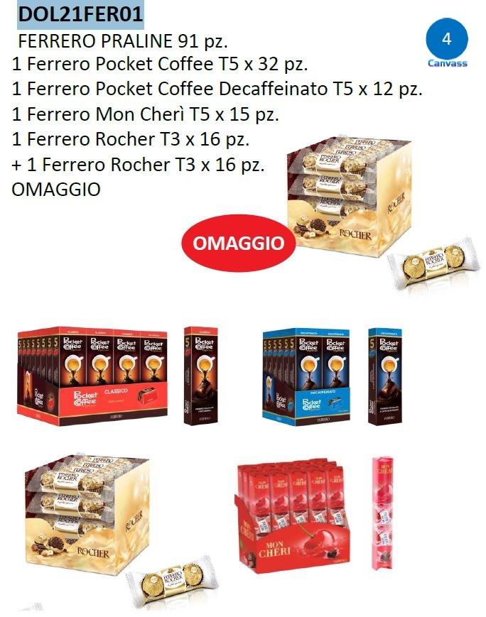 CARTONE MISTO FERRERO PRALINE 91pz - (75+16 omaggio)