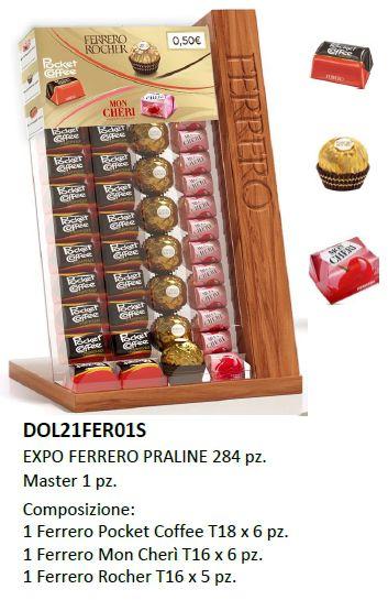 CARTONE MISTO FERRERO PRALINE SINGOLE 284pz + EXPO DA BANCO