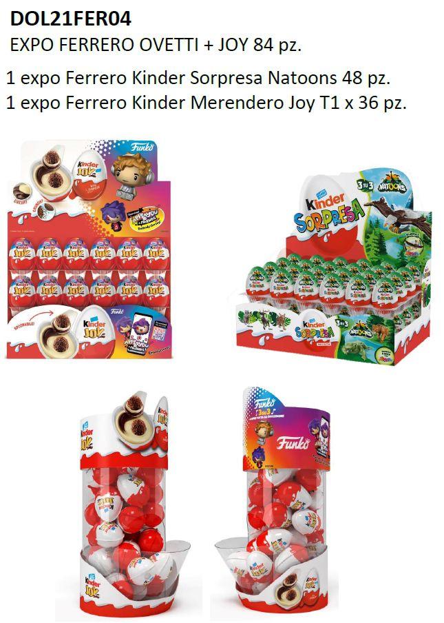 CARTONE MISTO FERRERO OVETTI+JOY 84pz + EXPO OMAGGIO