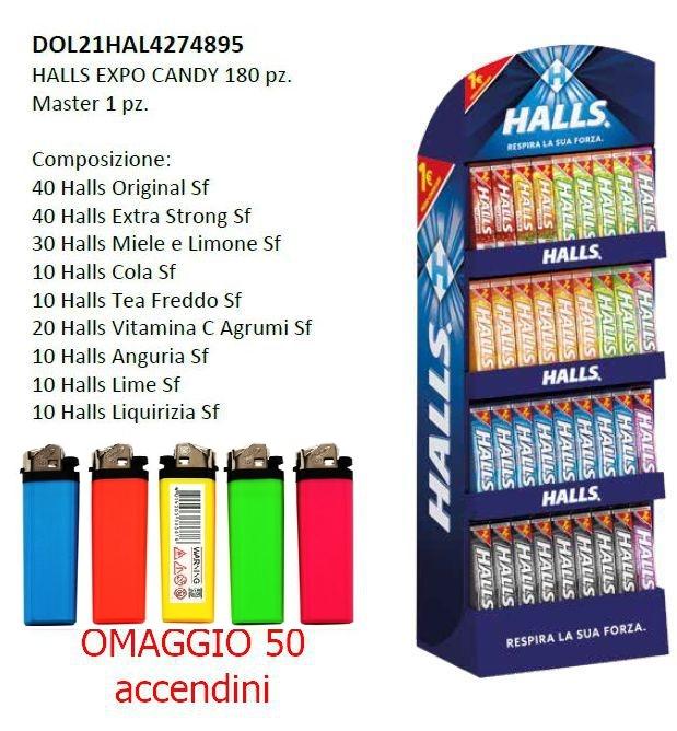 CARTONE MISTO HALLS CANDY 180pz + ACCENDINO OMAGGIO  EXPO DA BANCO