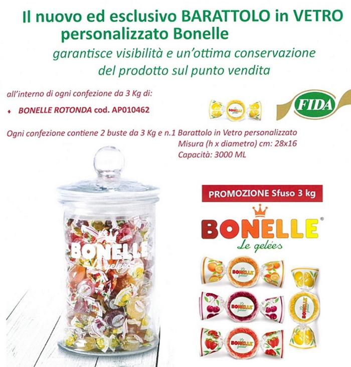 CARAMELLE BUSTA BONELLE FIDA ASSORTITE MAXI 2x3kg ROTONDA + VASO VETRO IN OMAGGIO